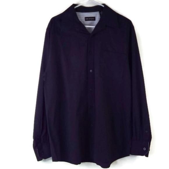 MB Studio Mens Button Down Dress Shirt Long Sleeve